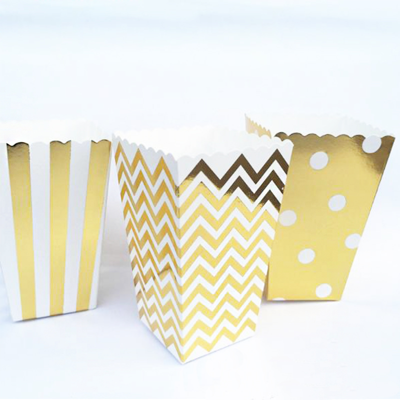 12pcslot popcorn boxes yellow design trio miniature scalloped edge cardboard party cartoon candy snack