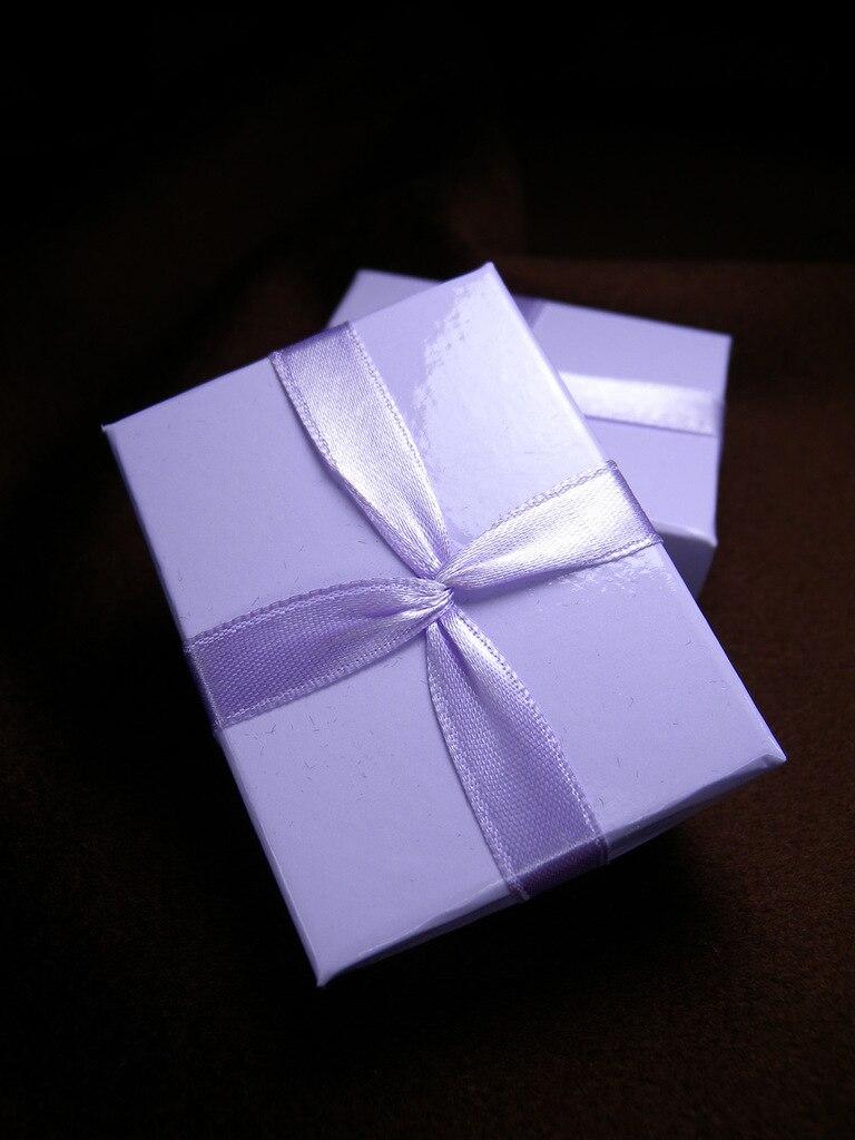DoreenBeads Jewelry Box Wholesale Paper Purple Ribbon Earrings Ring Box Classic Gift Box Display New Year 6.5* 5*2.5cm 1 Piece