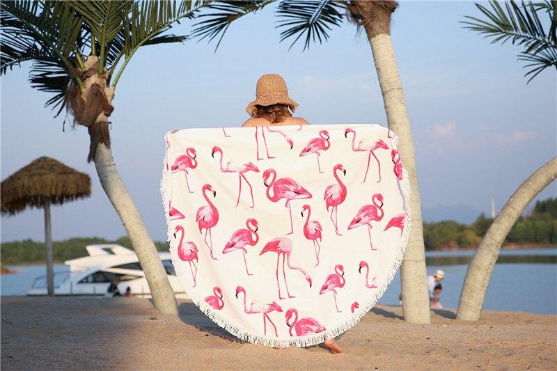 HTB1v0MuSpXXXXcnaXXXq6xXFXXXz - Round Style Microfiber Beach Towel - Flamingo With Tassels Design