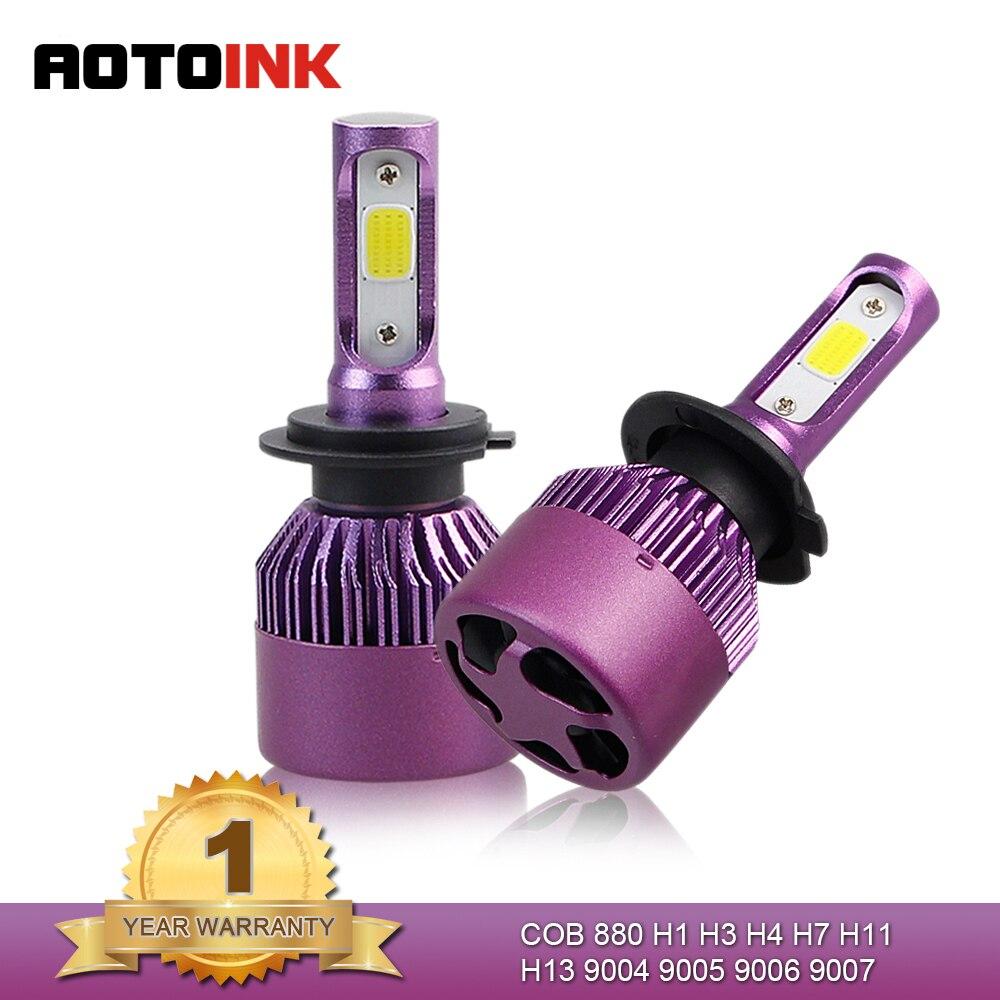 AOTOINK H1 H4 HB2 H7 LED H11 Car Headlights 9006 HB3 9005 LED Bulb Auto Fog Headlamp H3 880 881 H27 9012 6500k EJ car headlights h3 led hb3 9005 bulb auto front bulb 60w 4000lm automobiles headlamp kit 6500k