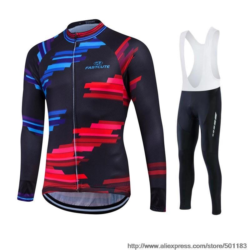 ФОТО Fastcute Autumn Cycling Zipper Jersey MTB Comfortable Sweat Clothes Long Sleeve Jackets  Ropa Ciclismo Bike Shirt Pant UUHL12A