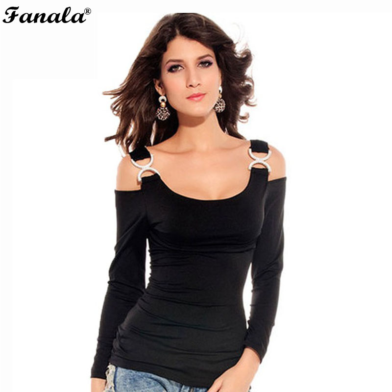 FANALA Top Tees T-Shirt 2017 Women Sexy Long Sleeve Off Shoulder Strap Casual Bodycon T Shirt Slim Tops Femme Womens t-shirts