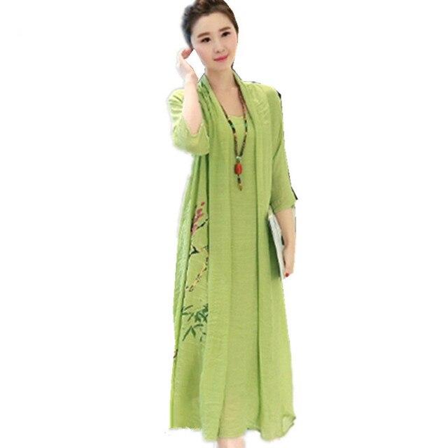 1e00dfc8a0a 2018 Kimono soft cotton linen long women summer dress vintage print floral  Ethnic sundress Robe plus size loose midi dress