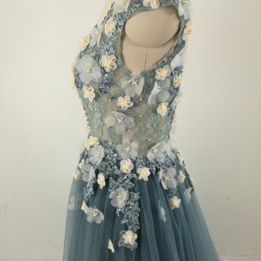 Echte foto Formele lange mouwen jurk Zie door Back Beading bloemen - Jurken voor bijzondere gelegenheden - Foto 4