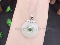 Beautiful 925 Sterling Silver White HeTian Jade Round Buckle Design Lucky Pendant + Chain Necklace Fine Jewelry Charm Gift