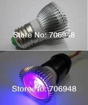 3W E27 UV LED Spot Light Bulb  UV GEL Curing Light 395nm 48*62mm
