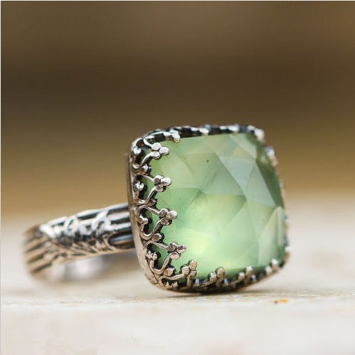 c36d212fc555a US $0.78 |Vintage Thai Silver Mint Green Moonstone Ring Simple Green Square  Zircon Ring For Women Fashion Retro Female Rings Jewelry-in Rings from ...