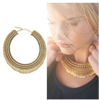 Tansy Fringe Collar Necklace Stella Style Fashion Vintage Gold Spikes Tassel Statement Necklace For Party Jewelry