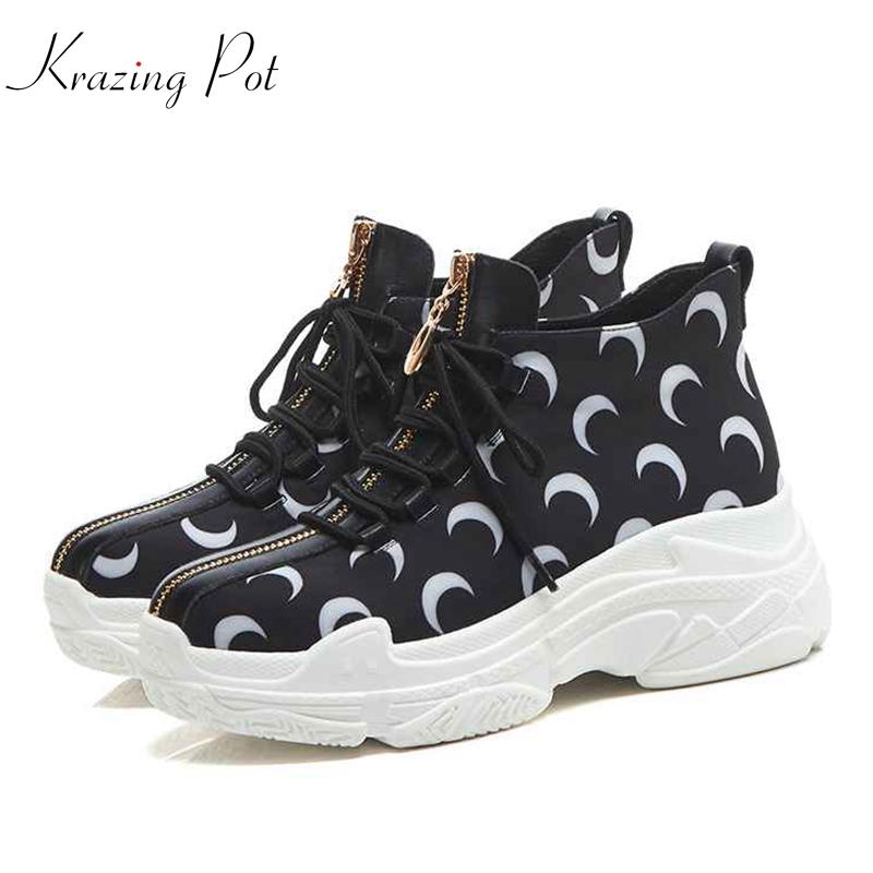 Krazing Pot 2018 cow leather original design sneakers women round toe lace up patterns leather zip female vulcanized shoes L66 panel design zip up pu leather jacket
