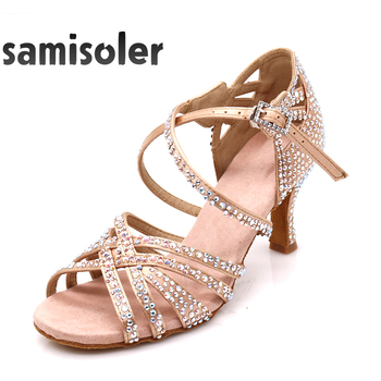 Samisoler Ladies Latin dance shoes with Brown rhinestone salsa dancing shoes Fashion Comfortable satin soft high heels 5CM-10CM