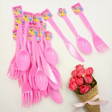30pcs Disney Princess Theme Party Plastic Knives/Forks/Spoons Birthday/Christmas/Festival Decoration Supplies05