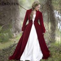 Бургундия бархат Свадебный жакет для невесты накидки обертывания зимние ВИНТАЖНЫЕ пальто сохраняющие тепло chaqueta mujer Свадебные аксессуары