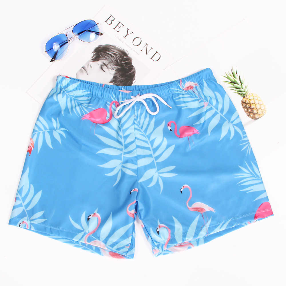 2018 Homens Swimwear Gay Maiô Calções De Banho de Impressão Flamingos Sunga Para O Banho Homem Beachwear Mens Board Shorts Venda Quente