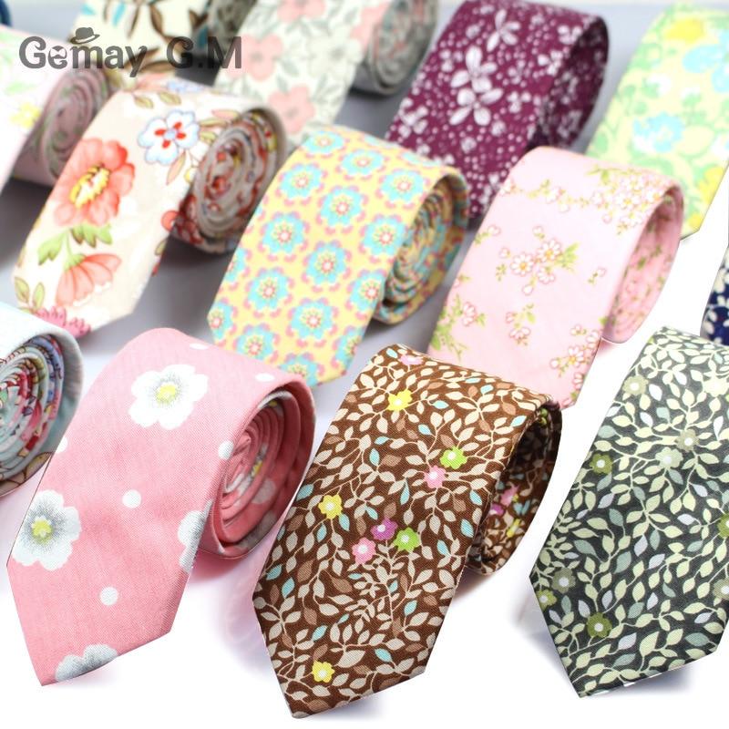 Brand Cotton Floral Ties For Men Suit Skinny Mens Ties Gravatas Slim Corbatas Vestidos Neck Tie High Quality Cravat Necktie