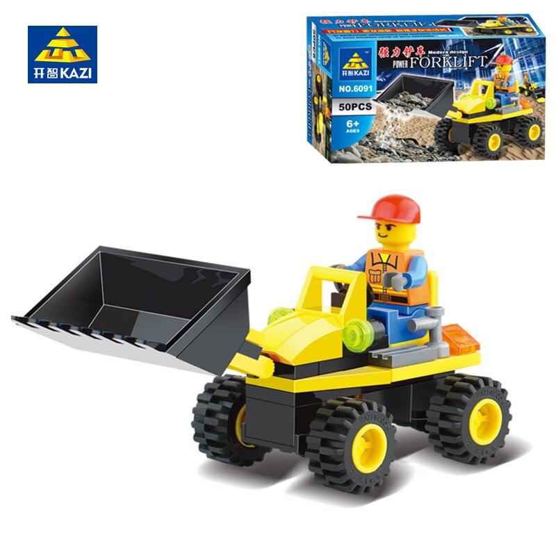 KAZI 6091 City Engineering Construction Building Blocks Bricks Figure Forklift Tractor Shovel Car Playmobil Toys for Children