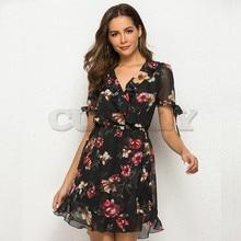 CUERLY Flower print ruffle wrap mini dress women Summer Chiffon robe femme beach V Neck ShortSleeve de fiesta