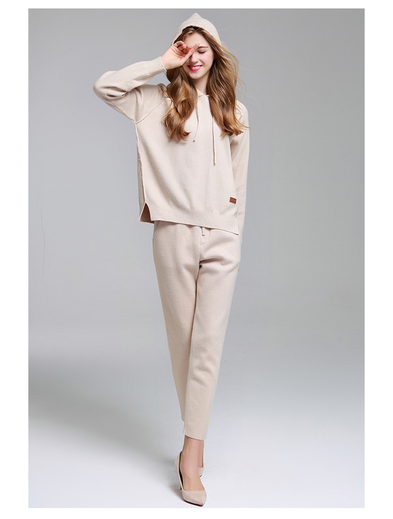 high grade wool thick knit women fashion hooded tracksuits sweatshirts pullover ankle length pant 2pcs/set beige color S/M/L/XL