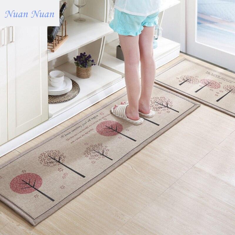 50X80+50X160CM/Set Linen Kitchen Mat Home Entrance/Hallway Doormat Anti-Slip Bathroom Carpet Absorb Water Kitchen Printed Rug