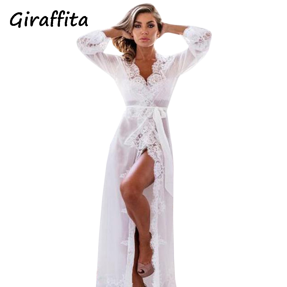 Giraffita New Nightgowns Maxi Lace Robe Sexy Sleepwear Long Bathrobe Women Kimono Dressing Gown Nightgown