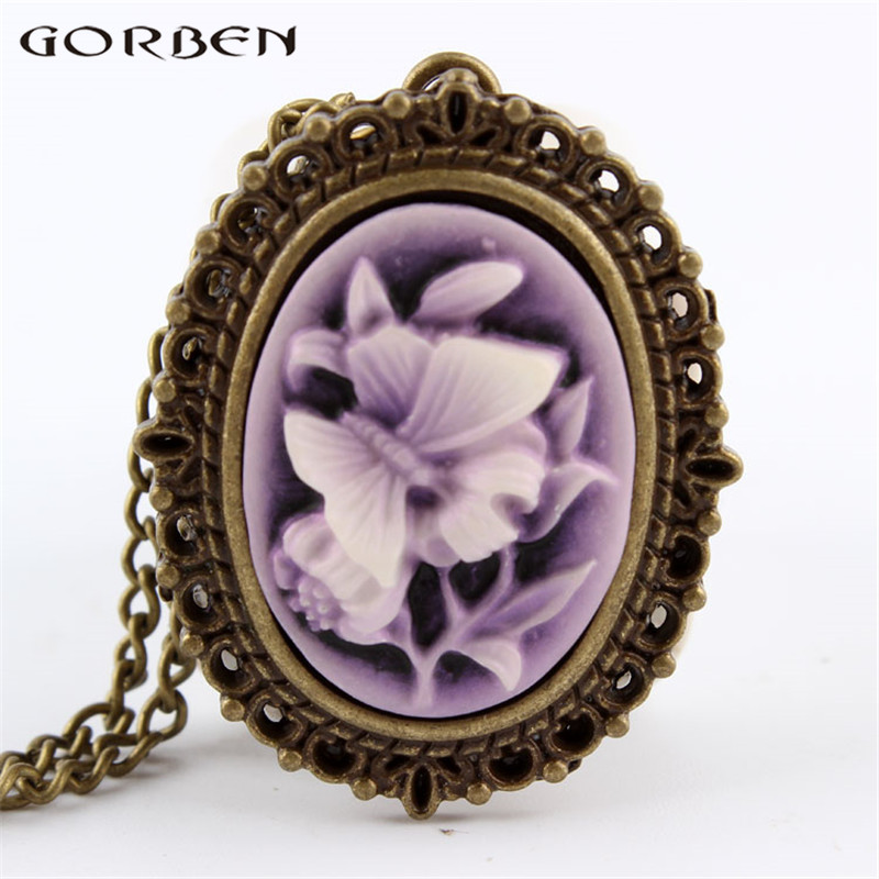 New Purple Butterfly Flower Pocket Watch Necklace Pendant Girl Lady Women Xmas Gift P63 nendoroid super mario bros figure toy mario 473 luigi 393 with toad mushroom goomba ghost bullet great model doll for kids