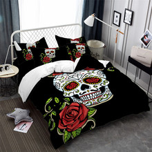 3Pcs Sugar Skull Bedding Set Girls Rose Floral Duvet Cover Twin Full King Queen Halloween Decoration Pillowcase