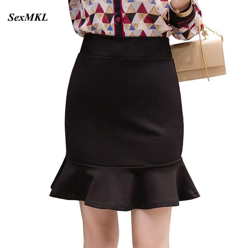 SEXMKL Plus Size High Waist Mini Skirt Women 2019 Harajuku Korean Ruffles Black Skirts Streetwear Office Sexy Pencil Short Skirt