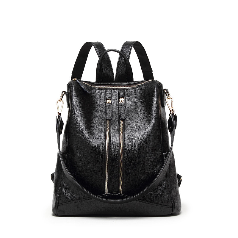 Elegant Black Backpack Travel Female Genuine Leather Women Backpacks School Shoulder Bags teenager Girl Large Capacity Back pack ...