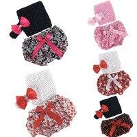 Baby Girl Chic 3pcs Clothing Sets Elastic Tube Top Bloomer Nappy Shorts Headband Infant Bebe Clothes