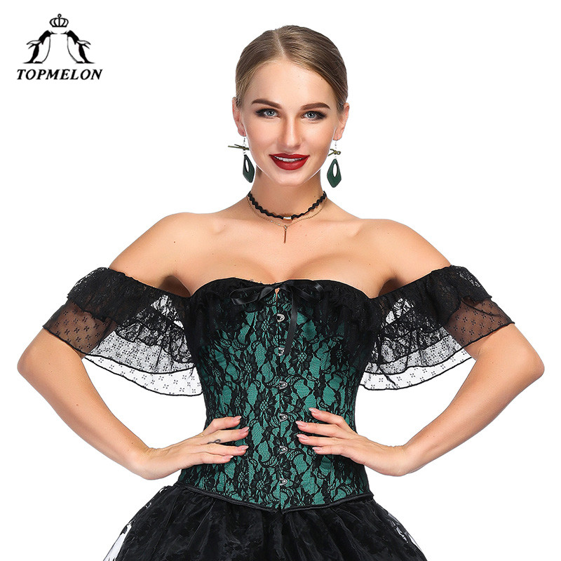 TOPMELON Lace   Corset   Off Shoulder Slimming Waist Shaper Floral Vintage   Bustier   Plus Size   Corsets   for Women Summer Sexy Costume