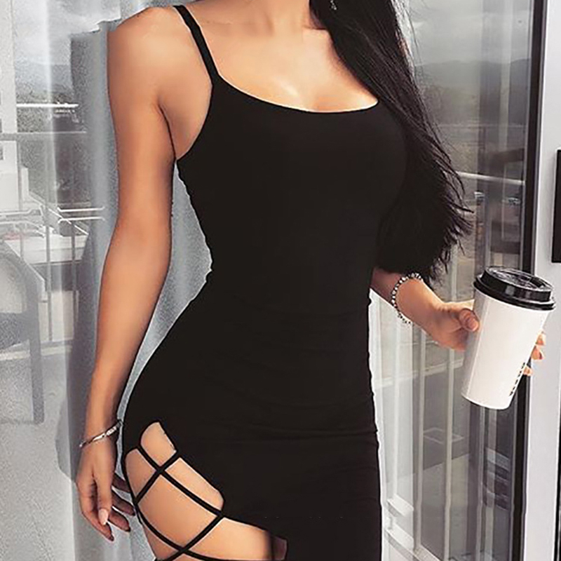 HTB1v0PQXsnrK1RjSspkq6yuvXXaT Summer 2019 Women Sexy Strap Dress Fashion Sexy Backless Sleeveless Side Hollow Out  Mini Sling Dresses Sheath Hip Party Dress