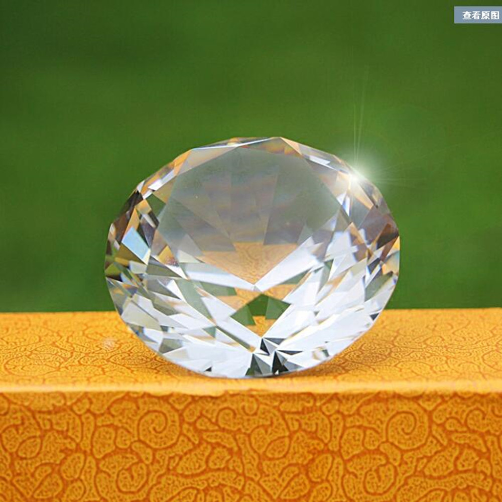 100pcs 50mm Crystal Diamond Shaped Cut Glass Paperweight Wedding Decor Gifts & Birthday Gifts-in Figurines & Miniatures from Home & Garden    1