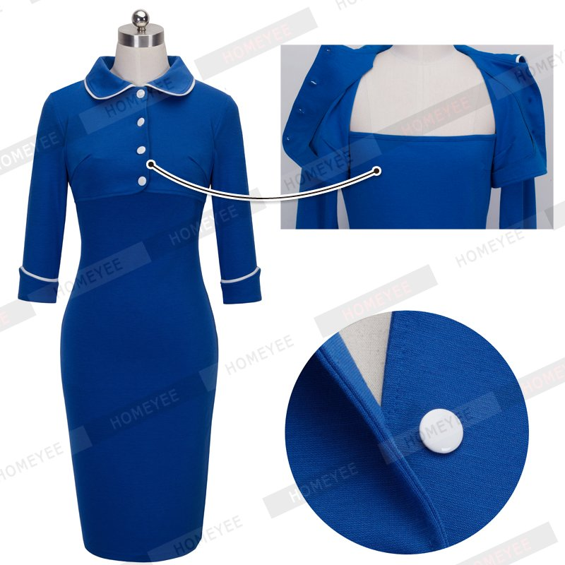 Vintage Elegant Peter Pan Collar Buttons Autumn Solid Color Business Work Causal Pencil Women Blue Dresses B276