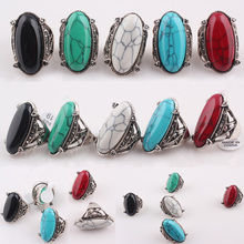 Turquoise Stone Rings Vintage Rings for Women&Men Antique Silver Ring Unisex Personality Oval Turquoise Finger Anillos R58