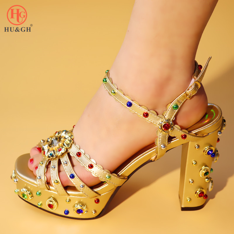 Gold Best Selling 2019 For Wedding High Quality Italian Design PU Leather Adults Shoes African Woman Sandals Possible Match Bag