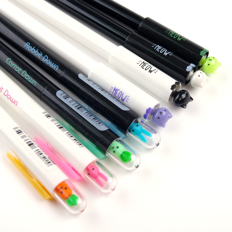 5 Pcs/lot The Cute Rabbit Cat Carrot Gel Pens Creative Student Stationery Children Gift 0.5mm Black Ink