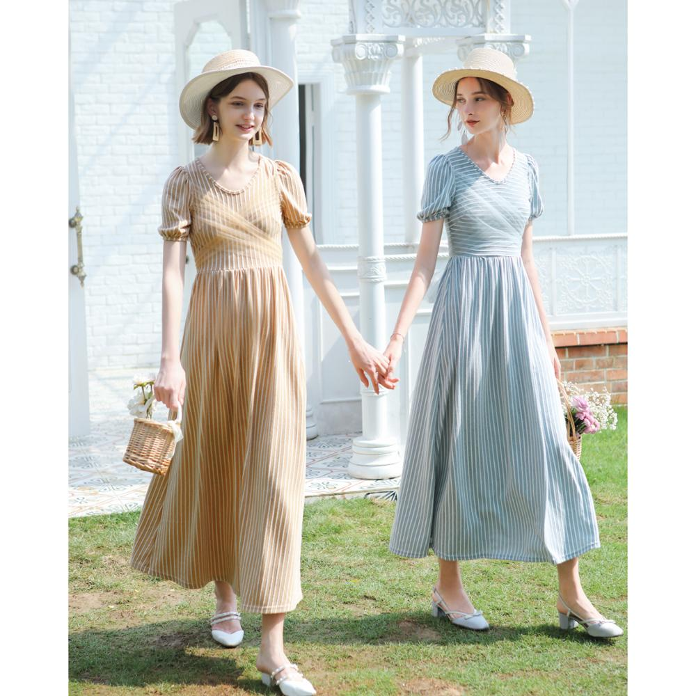 Free Shipping 2019 New Summer Vintage One-piece Long Maxi Short Sleeve S-L Dresses Women High Quality Bandage Striped Dresses