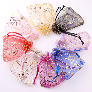 Wholesale 100pc 7*9cm tulle Organza Bags Candy bags Organza Drawstring Pouches Gift Jewelry Packing mariage Wedding Bags Decor.B(China)