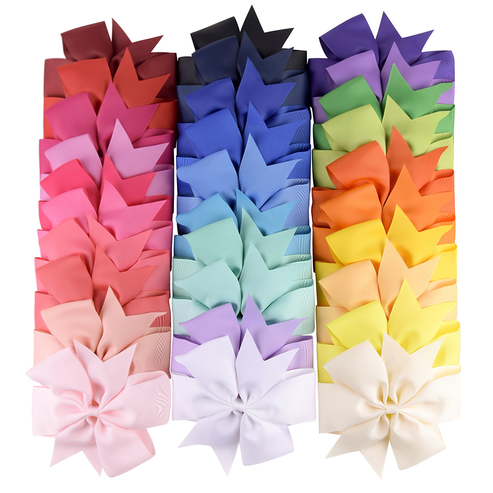 6 inch 40 Colors Solid Grosgrain Ribbon Bows Clips Hairpin Girl's hair bows Boutique Hair Clip Headware Kids Hair Accessories