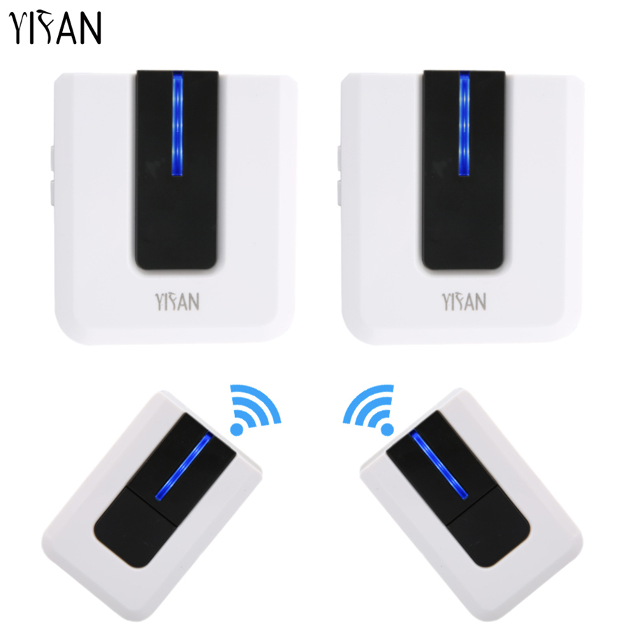 YIFAN EU US AU Plug Wireless Doorbell Waterproof 300M Remote home Door bell chime AC 110V-220V 433MHZ 110DB 2 emitter 2 Receiver wireless cordless digital doorbell remote door bell chime waterproof eu us uk au plug 110 220v
