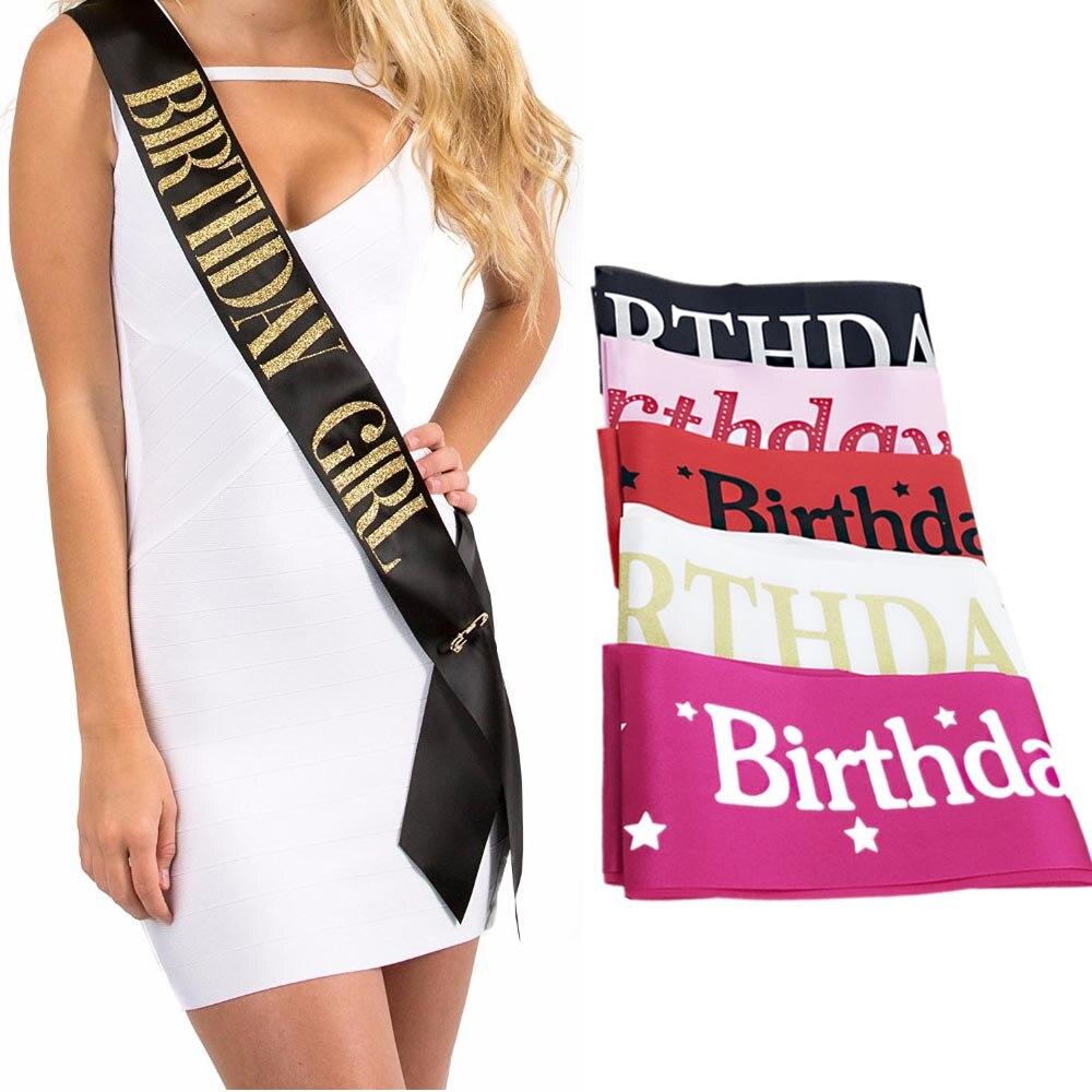 Black Gold Birthday Girl Satin Ribbon Sash Novelty Girls Happy Birthday Party Decoration Supplies Accessories Sashes Favor Gifts