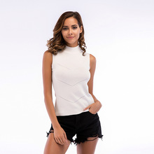 YYFS New 2019 Fashion Cotton Womens High-Necked Knitted Bottoming Sleeveless Top Summer Refreshing Sexy Ribbed Vest For Women