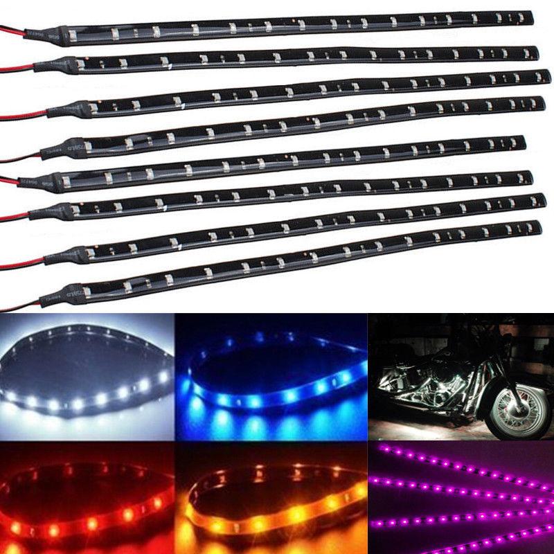 8PCS Waterproof 15 SMD LED 30cm 5050 Strip Light Flexible 12V Car Decor White Yellow Red Blue Green 5050 led light strip 10mm connectors white black red 2 pcs