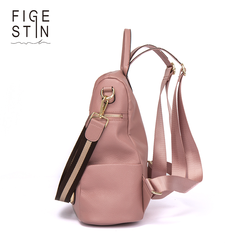 Figestin Backpack Female Genuine Leather Women Backpacks School Bag Pink Stripe Multifunctional Leather Back Pack On Shoulder #4