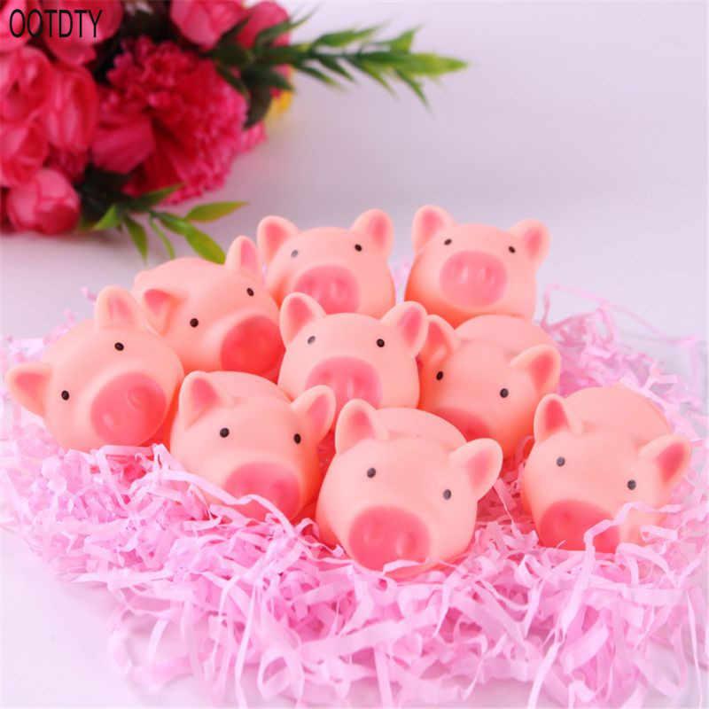 OOTDTY Kawaii cerdo Rosa Animal apretón juguete para baño de bebé juguete timbre de habitación broches prácticos niños regalo
