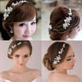 Free shipping Faux Pearl Flower Crystal Rhinestone Prom Party Bridal Hair ornaments Hair Band Tiara amount of wedding jewelry