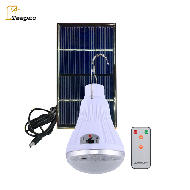 Remote Control Portable Solar Led Bulb Lamp Charged Solar Energy Lamp Solar Panel Powered Outdoor Camping Tent Fishing Lights