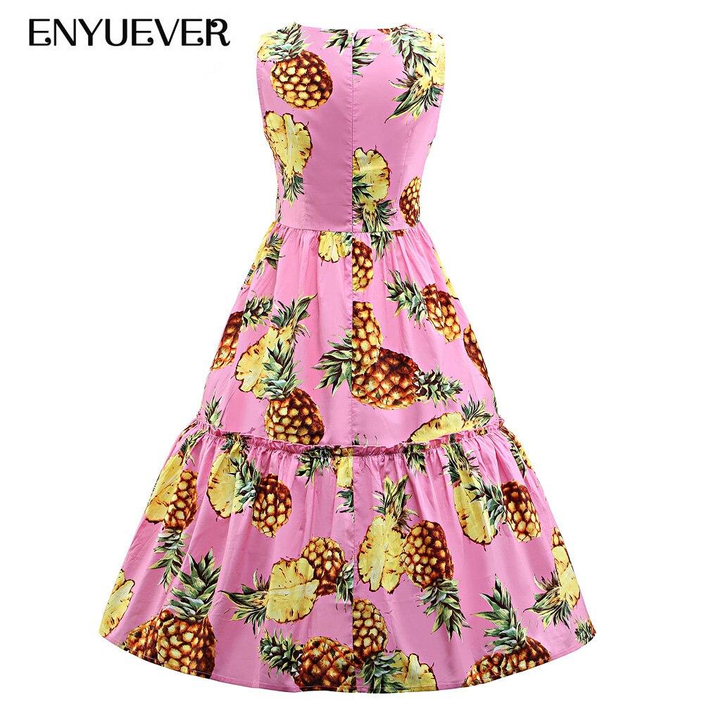 cd87fe3bd17 Enyuever Robe ananas grande taille robes Vintage 50 s 60 s Tank Robe  élégante Rockabilly rétro fête vêtements de sport Robe d été dans Robes de  Mode Femme ...