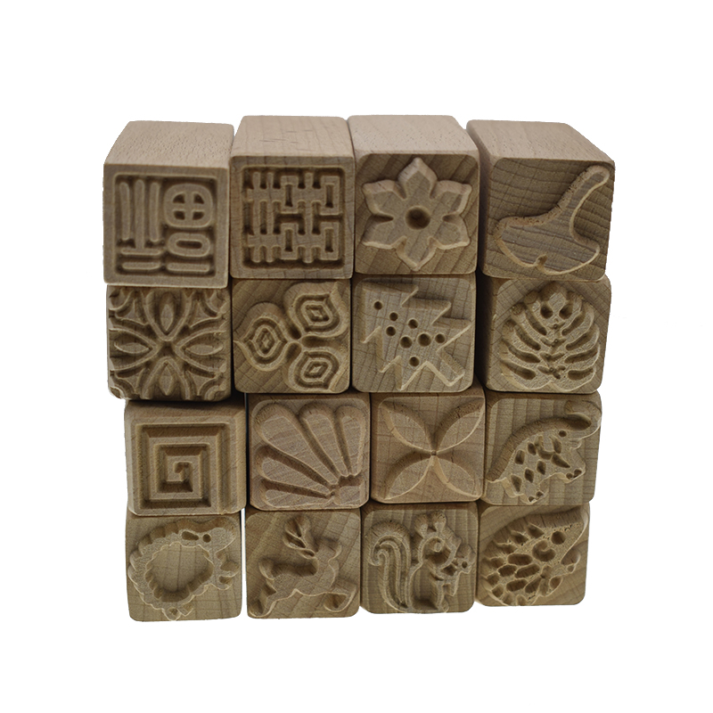 Hand Carved Wooden Stamps for Printing DIY Clay Pottery Printing Blocks Clay Tools Leaf/ Fish Bone /squirrel/ flower/deer/tree