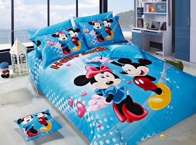 5pc 3d Mickey Mouse Minnie Queen Kids Bedding Sets Duvet Cover Kids Girls  Bed Sheets Luxury
