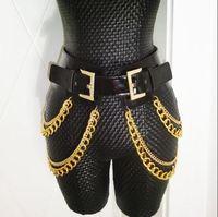 GogoVlike 2016 Women Sexy Female Tassel Belt Girdle PU Leather Gold Metal Exaggerated Big Waistbelt Punk